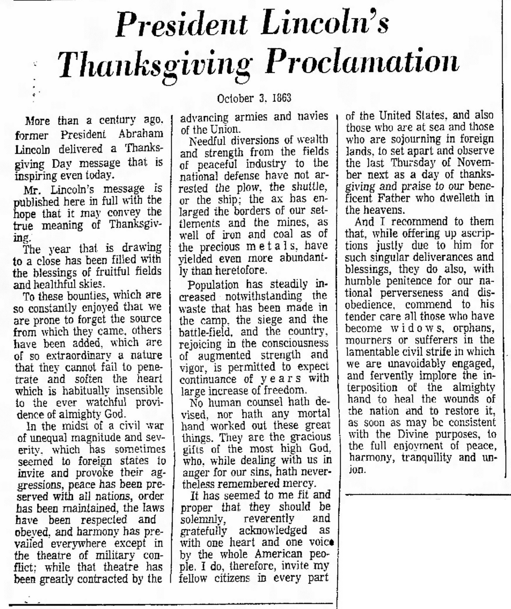 President Lincoln's Thanksgiving Proclamation