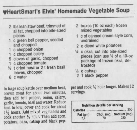 Elvis' Homemade Vegetable Soup!